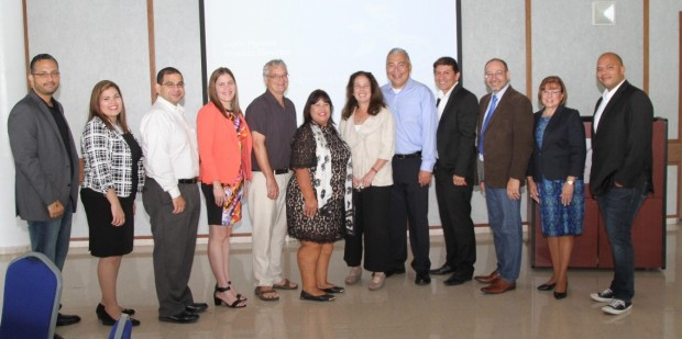 Image of Dr. Jose Garcia (Investigator at UPRC), Dr. Karilys González Nieves (Investigator at UPRC), Dr. Luis Cubano (Co-Project Director, UPRC Title V), Dr. Reyda González-Nieves (MCB Acting Operations Manager), Dr. Larry Halverson (SSB Program Director), Ms. Raquel Marti (Project Director, UPRC Title V), Dr. Linda Hyman (MCB Division Director), Dr. Wilson Francisco (MB Program Director), Dr. Jose Alvarez (Faculty Development, UPRC Title V), Dr. Moisés Orengo Avilés (UPRC Chancellor), Dr. Awilda Nueñez (Academic Dean at UPRC), and Dr. Jose Santiago (Investigator at UPRC)