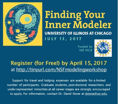 This image shows a blue and yellow flyer with the drawing of a cell beside the title that announces the 'Finding Your Inner Modeler' workshop at the University of Illinois on July 13, 2017. The workshop was funded by NSF MCB. Participants can register for free by April 15, 2017 at http://tinyurl.com/NSFmodelingworkshop. Support for travel and lodging expenses are available for a limited number of participants. Graduate students, post-doctoral researchers, and under-represented minorities at all career stages are strongly encouraged to apply. For information, contact Dr. David Stone at dstone@uic.edu.