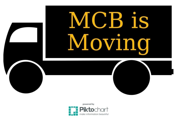 "An outline of a moving truck with ""MCB IS MOVING"" on the side."