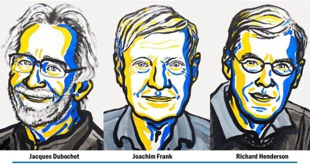 A picture of the three awardees in stylized yellow and blue sketches with each of their names below their face.