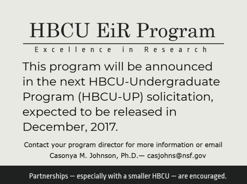 HBCU EiR announcement expected to be released in December