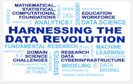"A word cloud with ""Harnessing the data revolution"" in the center and other words such as analytics, data science, and machine learning smaller surrounding it"