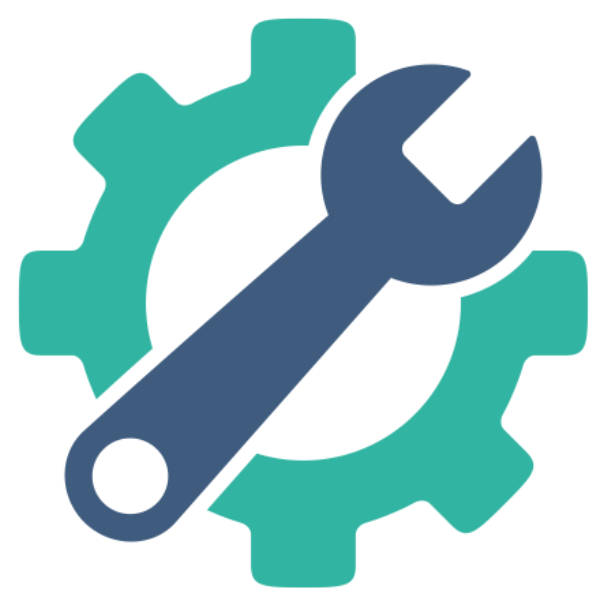 A graphic of a wrench against a background of a cog
