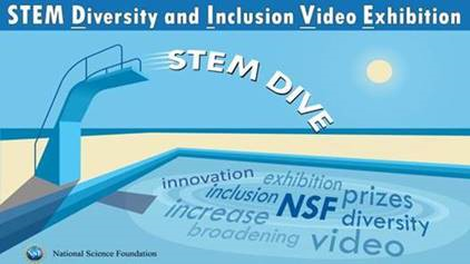 This is an image of a swimming pool to advertise the STEM Diversity and Inclusion and Video Exhibition (STEM DIVE). The water in the pool contains the words innovation, exhibition, prizes, diversity, video, increase, and broadenting.
