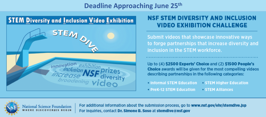 The National Science Foundation STEM Diversity and Inclusion Video Exhibition (STEM DIVE) challenge is accepting submissions until June 25 2020.  Submit a video that showcases innovative ways to forge partnerships that increase diversity and inclusion in the STEM workforce. Prizes: Up to (4) $2,500 Experts' Choice and (2) $1,500 People's Choice awards will be given for the most compelling videos describing partnerships in the following categories: Informal STEM Education PreK-13 STEM Education STEM Higher Education STEM Alliances For additional information about the submission process, go to www.nsf.gov/ehr/stemdive.jsp.  For inquiries contact Dr. Simone B. Soso at stemdive@nsf.gov